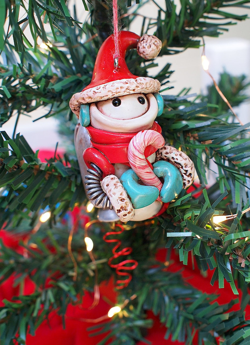 SNOWMAN Snowbot Robot Jet-Pack Candy Cane Holding Geeky image 0