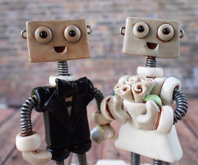 Robot Wedding Cake Topper READY TO SHIP Robot Bride Groom image 0