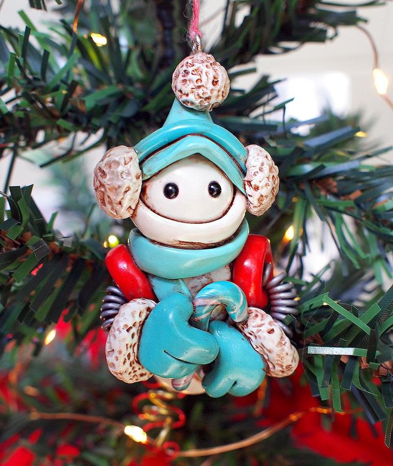 Robot Snowman Snowbot Christmas Ornament Jet-Pack Candy Cane image 0