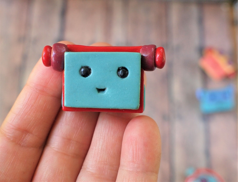 Light Blue Red Robot Face Pin Brooch Nerd Geek Techie Jewelry image 0