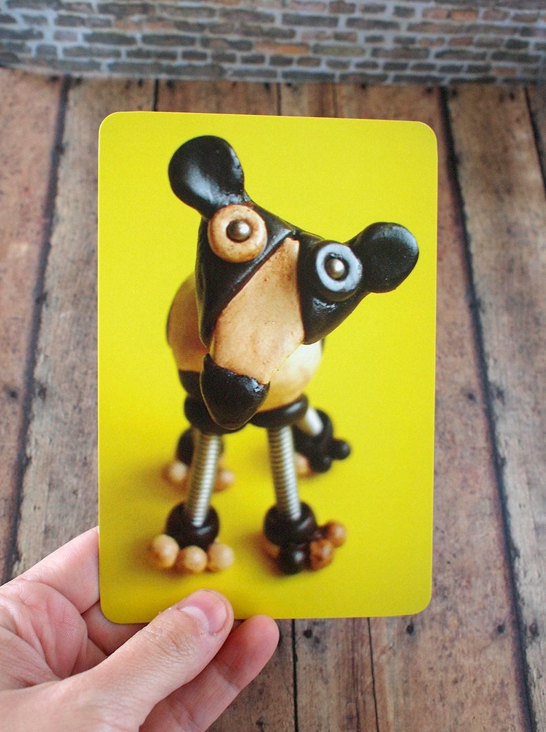 Robot Dog Cow Sculpture Art Print Postcard Kitsch Geek Animal image 0