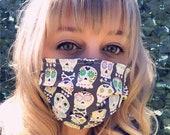 Sugar Skulls Damask REVERSIBLE Face Mask- QUICK SHIP- facemask- lightweight washable cotton