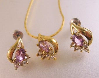 Amethyst Rhinestone Pendant & Stud Earrings Set Vintage Jewelry Jewellery