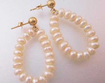 14k Fresh Water Pearl Hoop Earrings Pierced Vintage Fine Jewelry Gift for Her