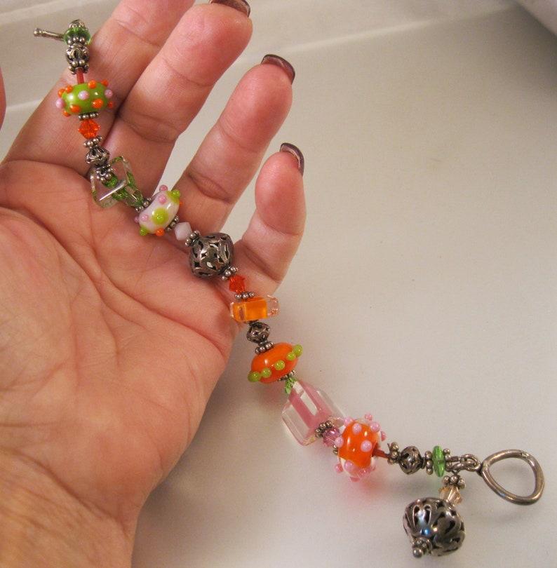 Hand Made Venetian Art Glass /& Silver Beaded Bracelet Sterling Silver 8 34 Orange Green Pink Vintage Bracelet Vintage Jewelry Gift for Her