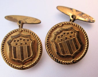 Antique Gilded Brass USA Seal Crest Button Cuff Links Military Government Vintage Jewelry Jewellery