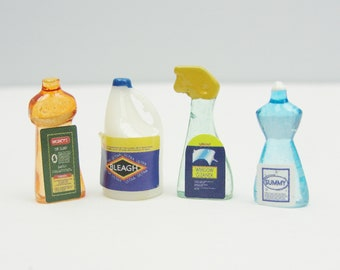 Dollhouse miniature cleaning products set of 4