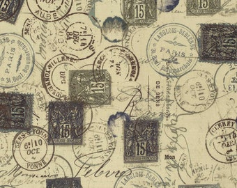 Tim Holtz Neutral Correspondance Correspondence Postage Stamp Fabric Yardage