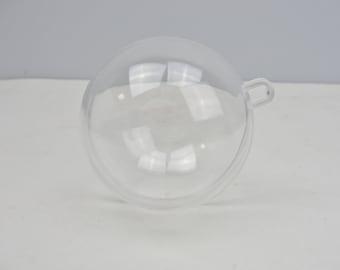 Plastic fillable 2-part round ornament choose your size set of 3