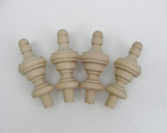 Small wooden finial set of 4