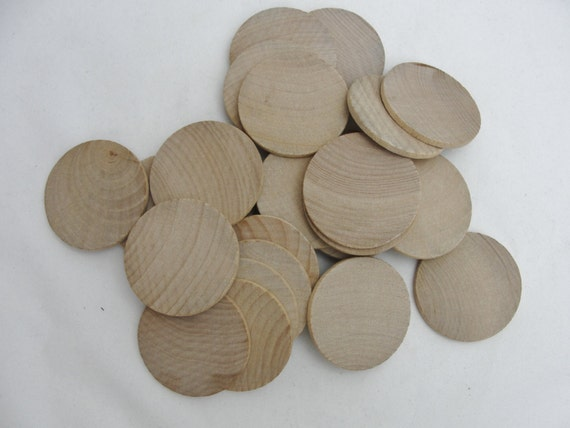 23-20-161 25 Pack 1.25 inch Wood Circle Disc with 1 Hole Drilled