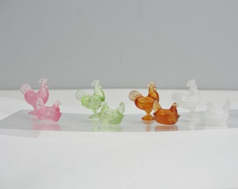 Dollhouse miniature rooster and hen set choose your color