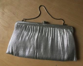 Red Lame Vinyl Purse Women Handbag Vintage 60s Classic Bag Elegant Evening Wallet Coin purse