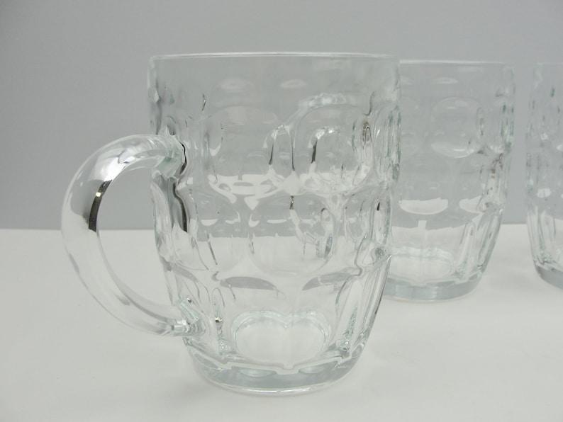 Vintage beer mugs set of 4 Arcoroc France thumbprint Britannia