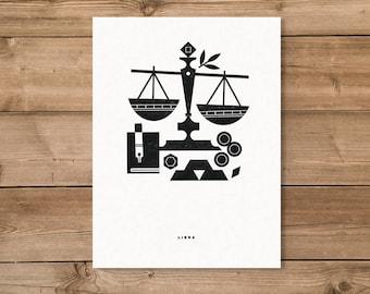 Libra Letterpress Print