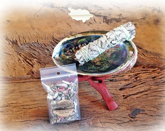 Abalone Shell, Tripod Stand, Sage Bundle, and FREE sample smudge blend