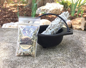 "Cast Iron Cauldron Smudging Bowl, 4"" White Sage Wand, and FREE sample blend"