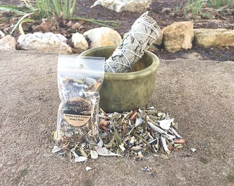 """Soapstone Carved Smudging Bowl, 4"""" White Sage Wand, and FREE sample blend"""