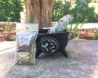 """Soapstone Om Symbol Carved Smudging Bowl, 4"""" White Sage Wand, and FREE sample blend"""