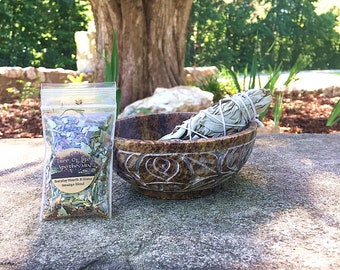 """Soapstone Carved Lotus Smudging Bowl, 4"""" White Sage Wand, and FREE sample blend"""