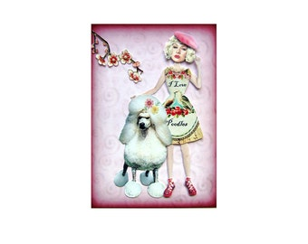 dog collage white poodle girl pink shabby chic home decor love custom portrait photography pet tagt team