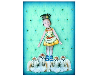 dog collage shih tzu girl child blue green tagt team asian home decor animal art children