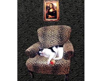 cat collage mona lisa black leopard chair custom home decor pet portrait tagt team