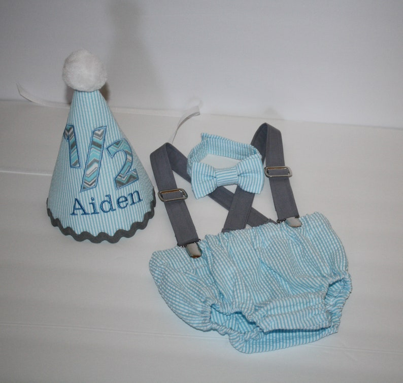 Admirable Baby Boy 1 2 Birthday Outfit 6 Month Cake Smash Set Diaper Etsy Funny Birthday Cards Online Aboleapandamsfinfo