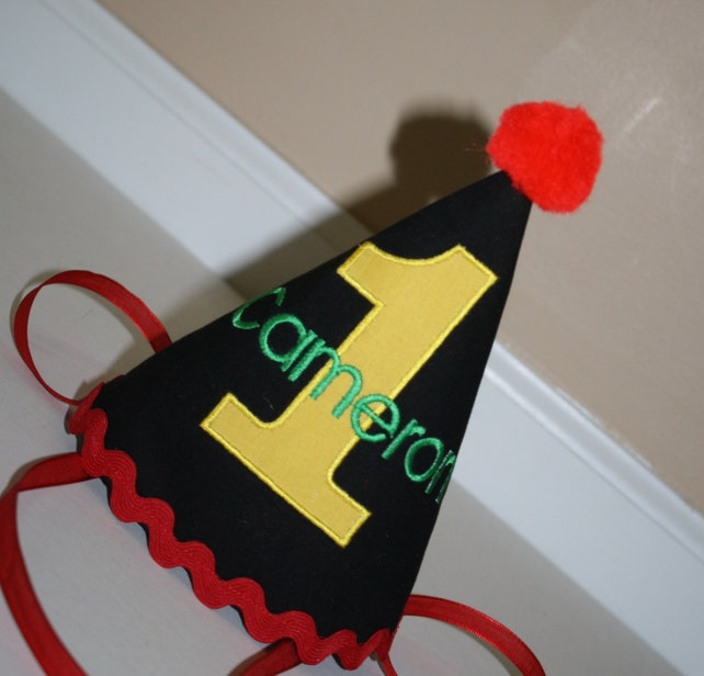 Baby Boys First Birthday Hat 1st Black Yellow Green