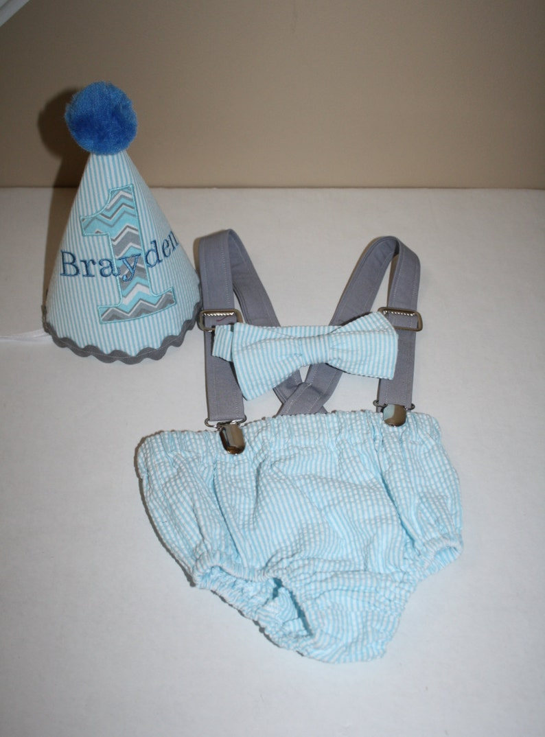 Blue And Gray Baby Boys First Birthday Outfit Cake Smash