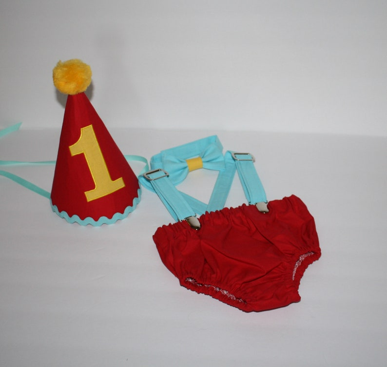 Red Blue Yellow Cake Smash Outfit Baby Boy First Birthday