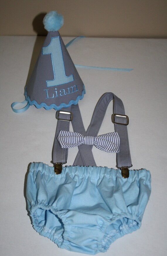 First Birthday Outfit Baby Boy Cake Smash Blue
