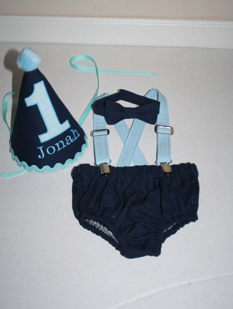 Blue Light 1st Bi Cake Smash Outfit Baby Boy First Birthday Navy Boys Diaper Cover Bow Tie Hat