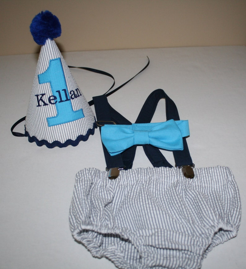 Baby Boy First Birthday Outfit Cake Smash Gray