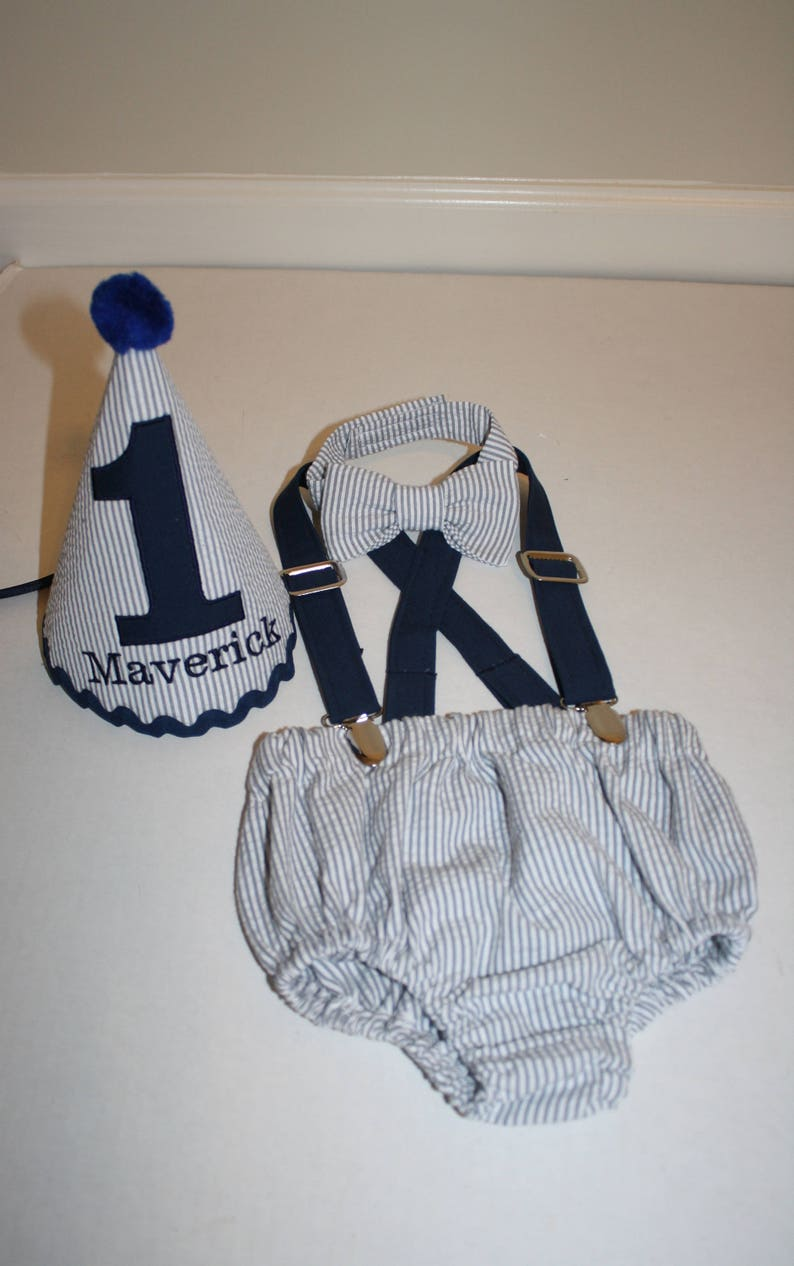Baby Boy Cake Smash Outfit First Birthday Gray Navy