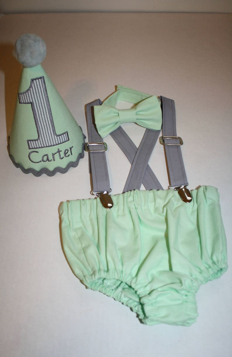 Mint Cake Smash Outfit Boys First Birthday Green