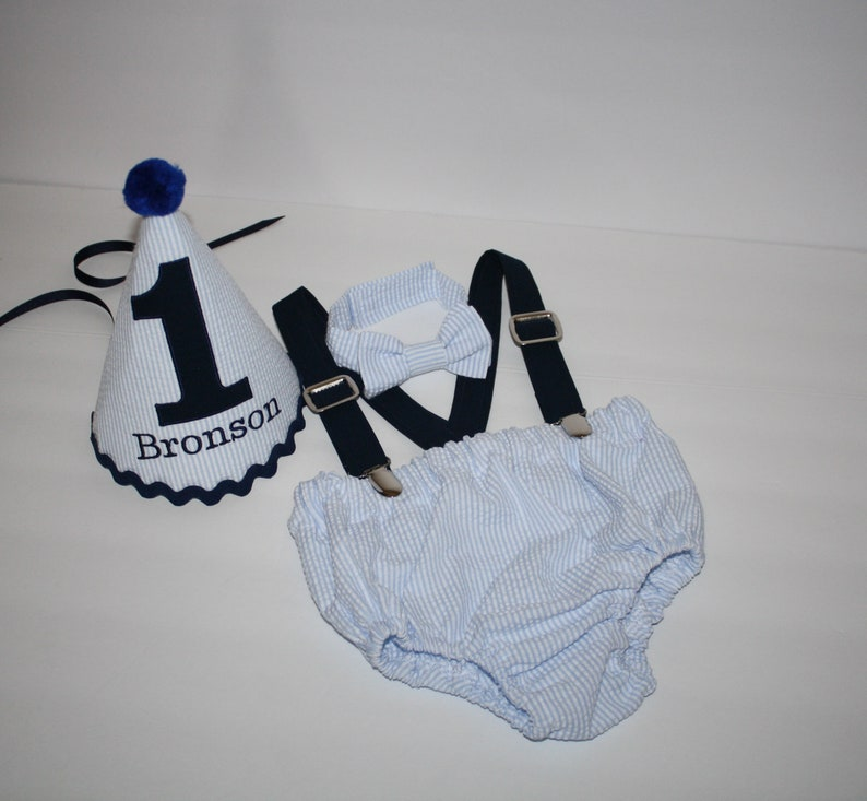 personalized 1st birthday hat diaper cover bow tie suspenders blue seersucker navy blue first birthday outfit cake smash outfit boy