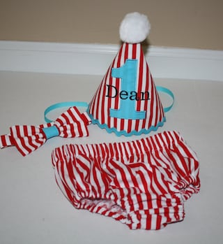 circus first birthday party outfit for boys, cake smash outfit, red white stripes with aqua blue accents, 1st birthday, boys diaper cover