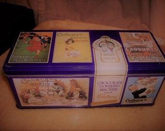 Vintage Cadbury's Chocolate Tin. Hinged Lid. Purple Graphics.
