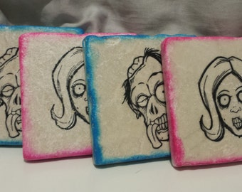 Hers & His Zombie Coasters (set of 4)