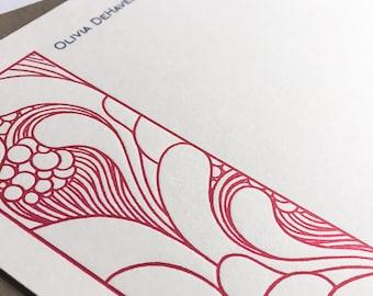 Personalized Stationery | Boho Notecards | Stationery Set | Letterpress Correspondence Cards | Thank You Notes | Boho Bubbles