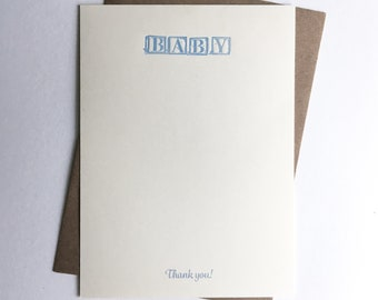 Thank You Cards | Correspondence Cards | Letterpress Cards with Digital Thank You | Baby Boy | Baby Blocks