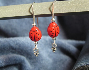 Spring Lady Bug Earrings on Sterling
