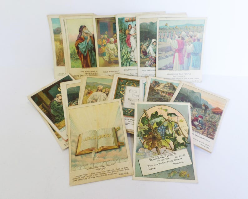 59 Antique Lithograph Bible Study Cards, Religious Picture Cards, Berean,  Evangelical, Little Bible Lesson Brands