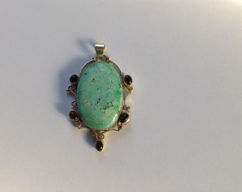Turquoise Amethyst Silver Pendant