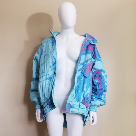 80s Vintage Puffer Jacket, colorful puffer coat, s