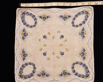 Free Shipping, VINTAGE HANKY, White Handkerchief, Blue Floral Print, 12 inches square, Cotton Hanky, Collectible