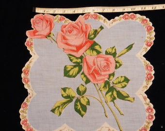 Free Shipping, VINTAGE HANKY, Pink & Blue Handkerchief, Rose Floral Print, 12 inches square, Cotton Hanky, Collectible