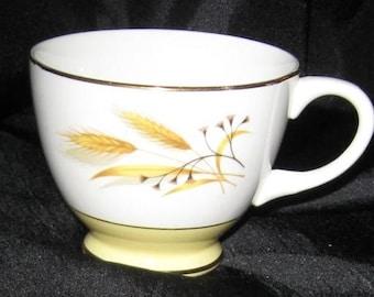 TEA CUP Golden Wheat Porcelainware, Vintage Mid Century 1950's Promotional Gold Gilded Rim, Homer Laughlin, Plant Holder, Decor Item, DiY