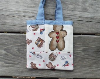 Blue GINGERBREAD MAN TOTE Bag, #5 Blue Lining, Showers Bride Baby, School, Carry-All, Book Bag, Market, Messenger, Gym Tote, DlY